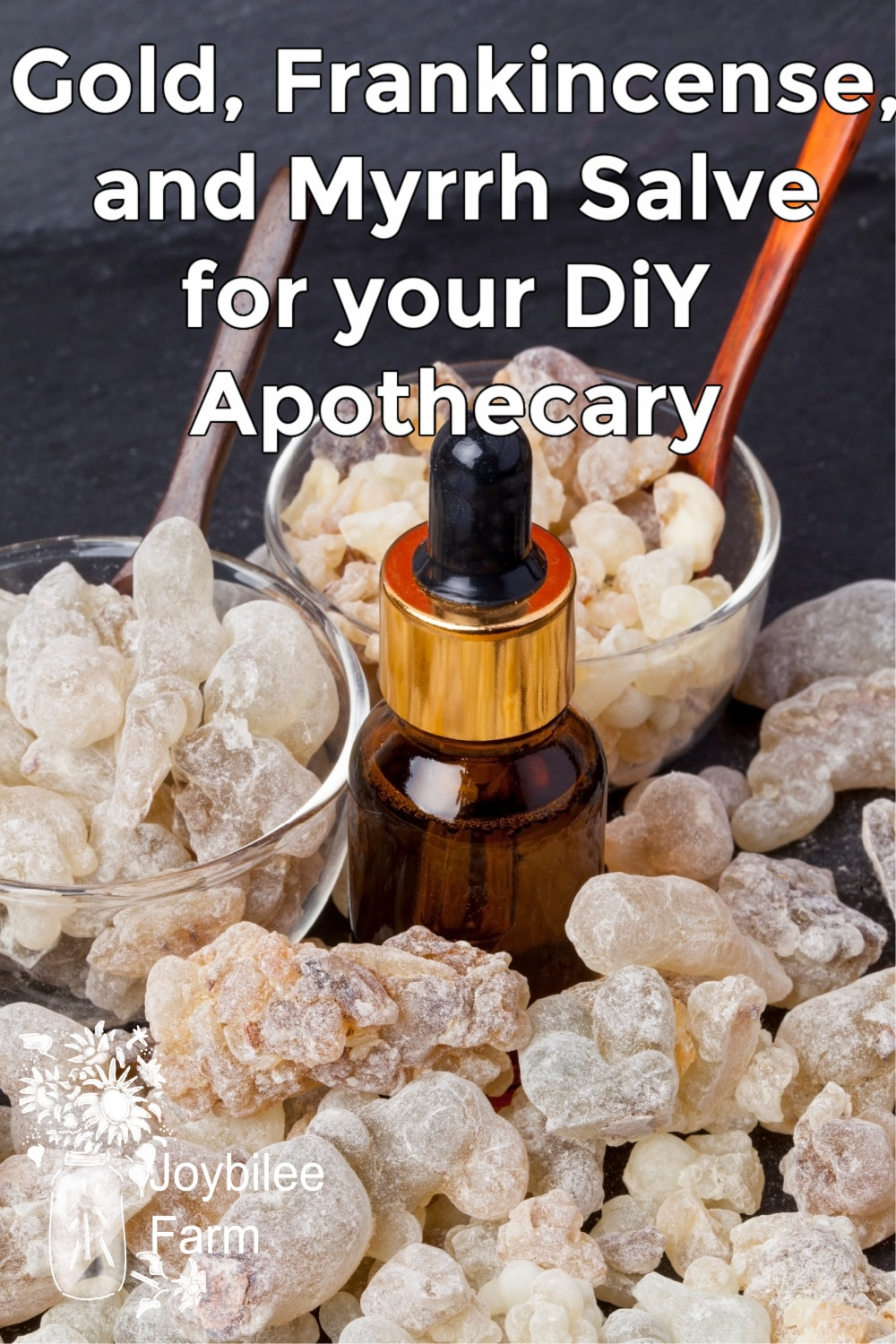 frankincense and myrrh resin with a dropper bottle