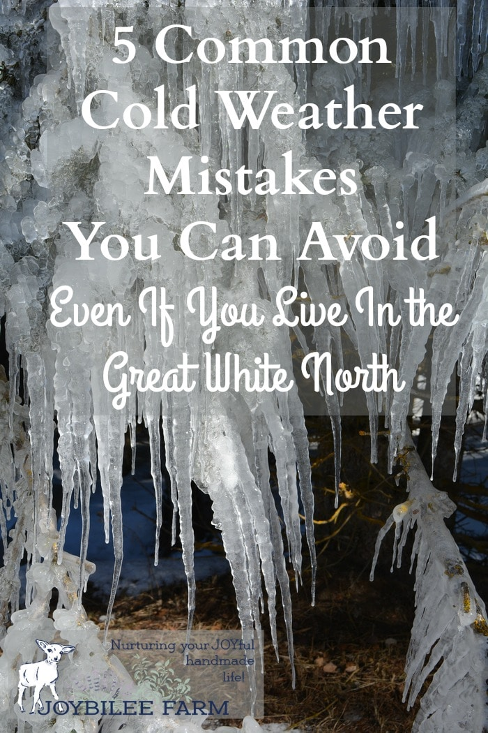 Living as we do in Canada. we've made a few cold weather mistakes. Some of these were serious mistakes. Maybe sharing these with you will help you avoid some dumb mistakes. If sharing my dumb mistakes will help you, I'm willing to risk the humiliation.