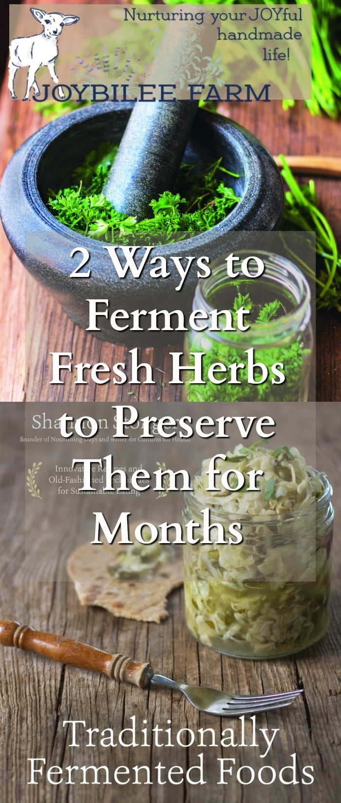 fresh herbs in a mortar and jar