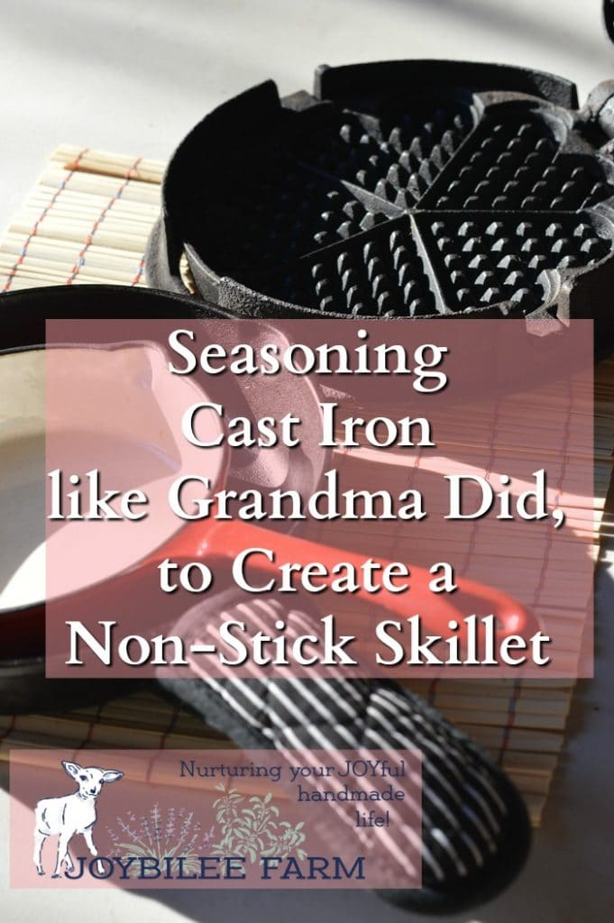 Seasoning cast iron creates a nontoxic, non-stick surface that browns food easily and gives fried foods a crisp, caramelized flavor, unobtainable in Teflon™ coated frying pans or stainless steel.