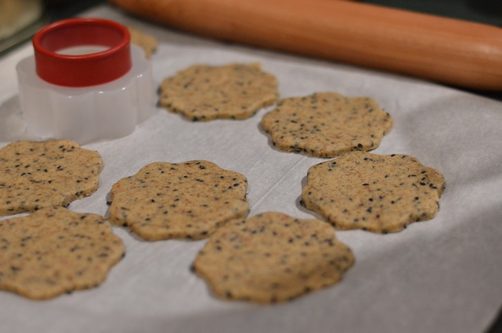 Easy Gluten-Free Cracker Recipe that tastes great and looks great on the plate and is firm enough to be used as the base for appetizers.
