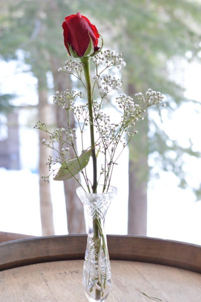 Single red rose in a crystal bud vase