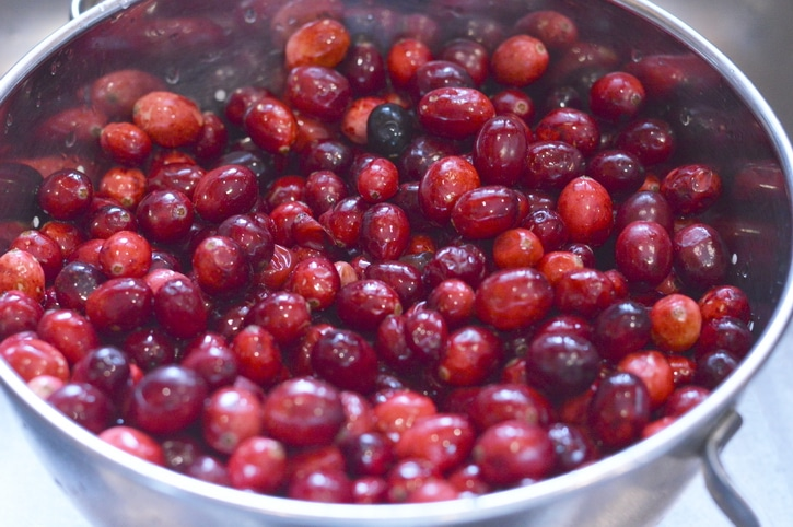 Raw red cranberries