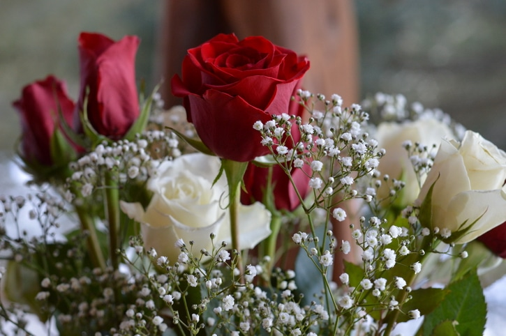 Red and white roses in a bouquet
