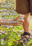 Someone spraying a boy's legs with mosquito spray