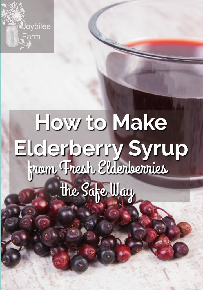 Fresh elderberries sitting on board by glass of elderberry syrup