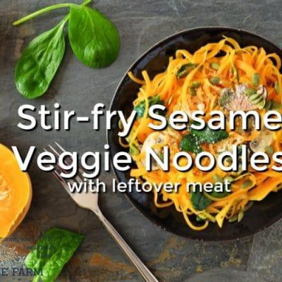 Stir Fry Sesame Veggie Noodles with Leftover Meat