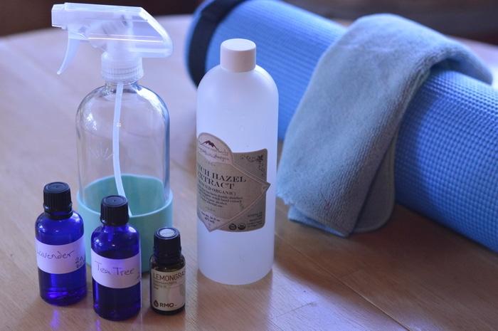 Essential oil bottles and spray bottle