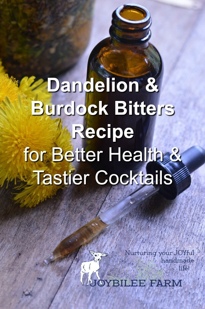 Fresh dandelions by a dropper and a dark glass vial full of dandelion and burdock bitters