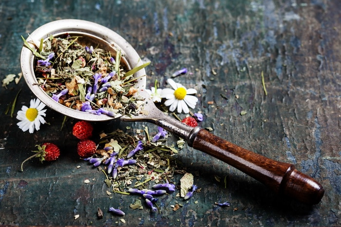 Herbal tea with wild flowers and berry on wooden background - bio food, health and diet concept