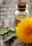 Dandelion flower and bottle with golden liquid