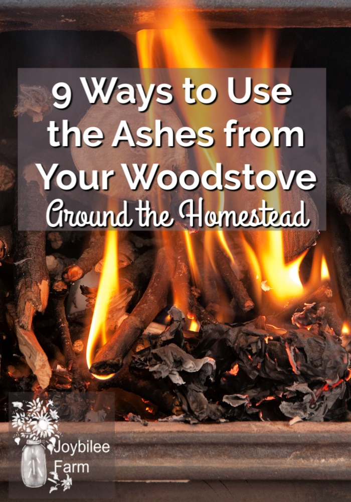open woodstove door with the text overlay 9 wood ash uses on the homestead