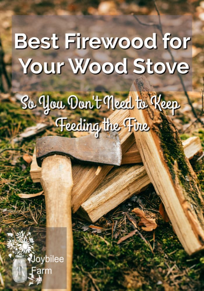 Chopped wood and an axe with a text overlay saying best firewood for your wood stove