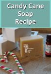 homemade candy cane soap by candy canes and a bottle of candy cane essential oil