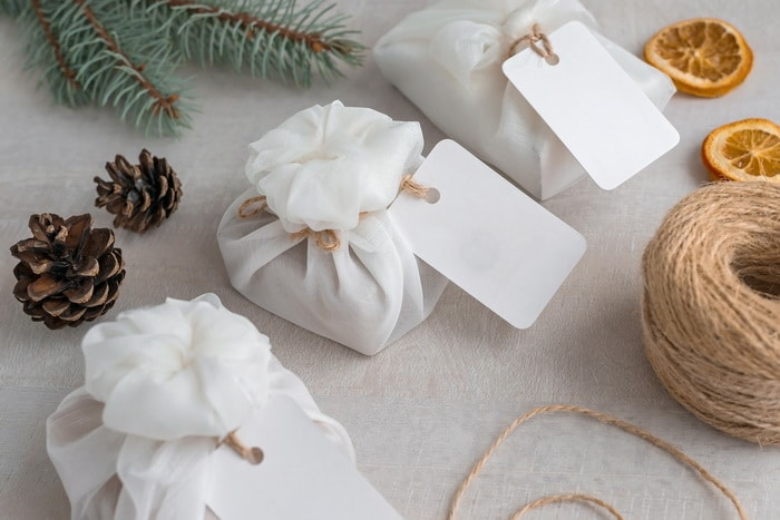 Wrapped presents using vintage linens