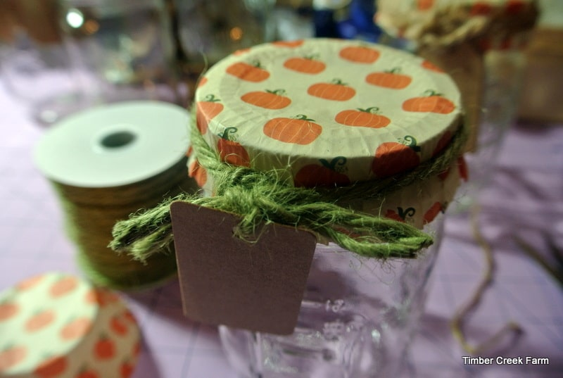 waste free gift wrap ideas - add cut tops to jar gifts from Timber Creek Farmer