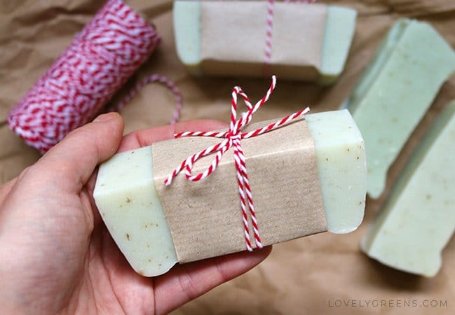 waste free gift wrap ideas - wrapping soap from Lovely Greens