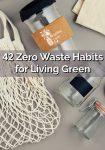 A reuseable net bag, glass bottles and coffee mug