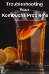 kombucha in a glass pitcher by fresh lemons and ginger