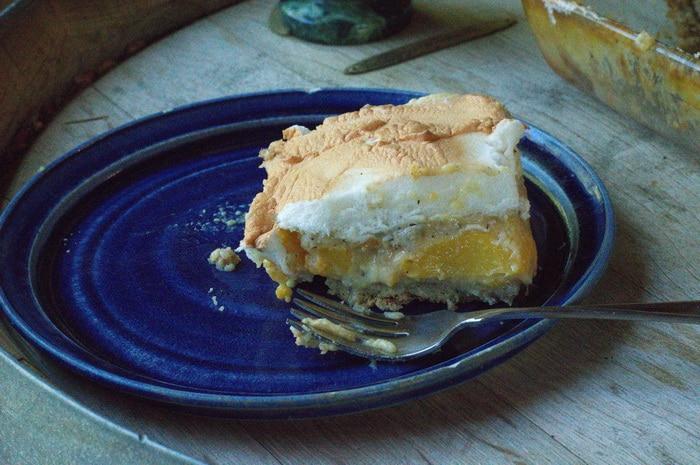 A slice of gluten free peach dessert