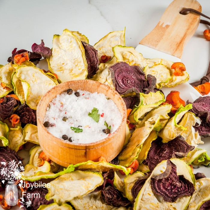 various veggie chips on a platter with dip