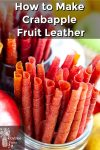 Apple fruit leather rolled up in cups