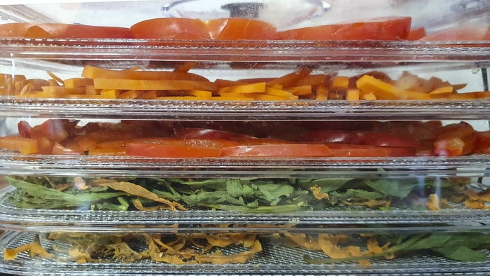 Blanching vegetables and placing them on dehydrator racks